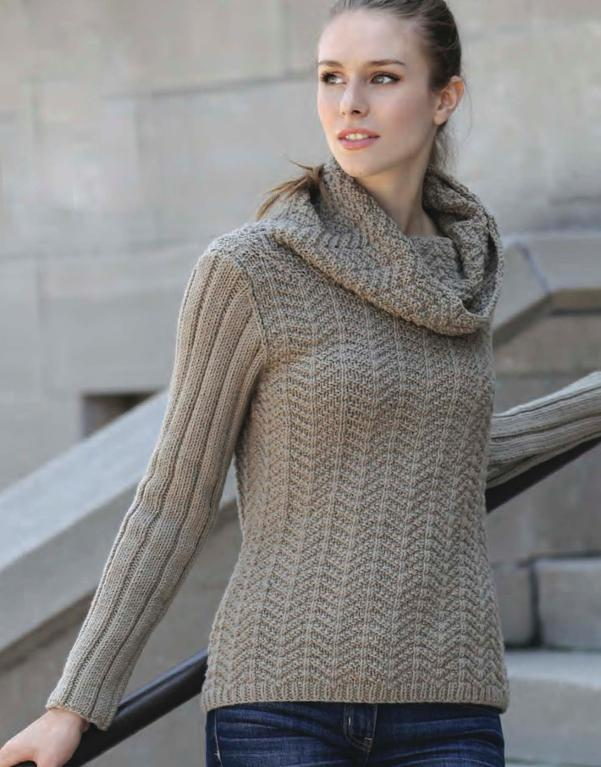 Herringbone Cowl Pullover Knitting Pattern