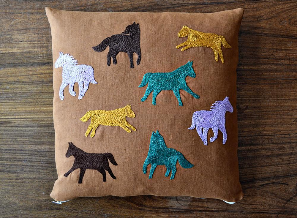 Running Horses Embroidery Cushion Cover