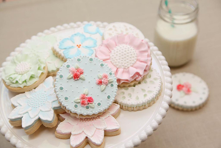 Eyelet and embroidery details make perfect inspiration for cookie decorating ideas