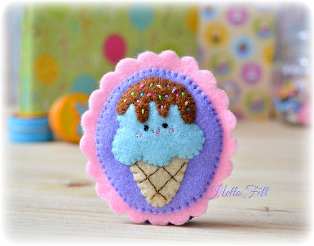 Ice Cream Brooch FREE Sewing Pattern