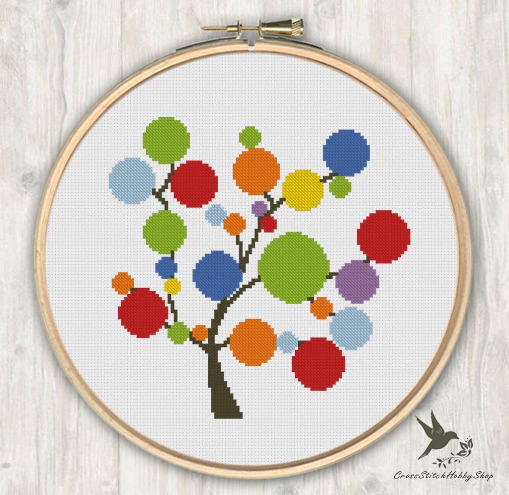 Rainbow Tree Cross Stitch Pattern