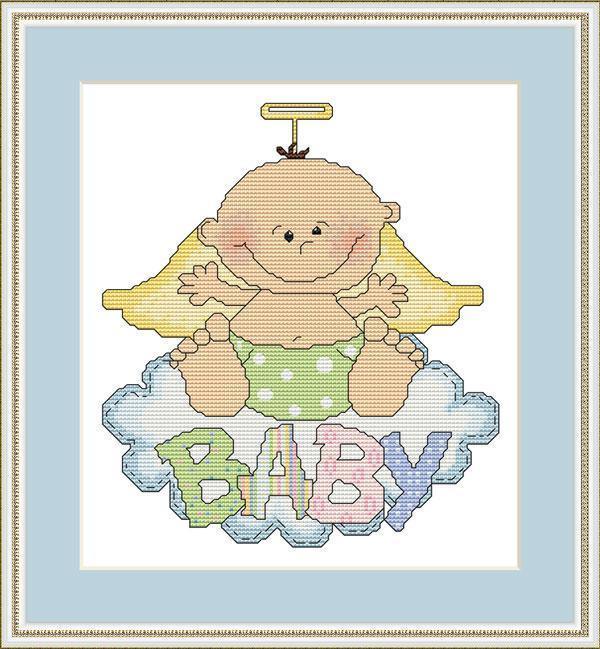 Angel Baby Cross Stitch Pattern