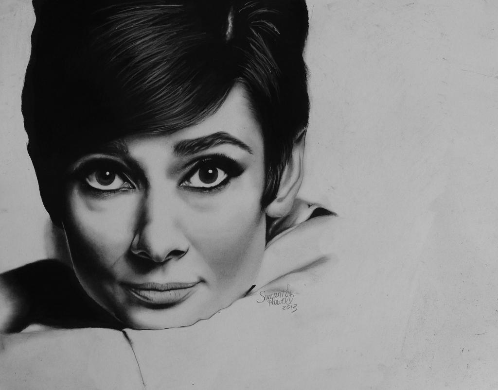 Audrey Hepburn Charcoal Drawing