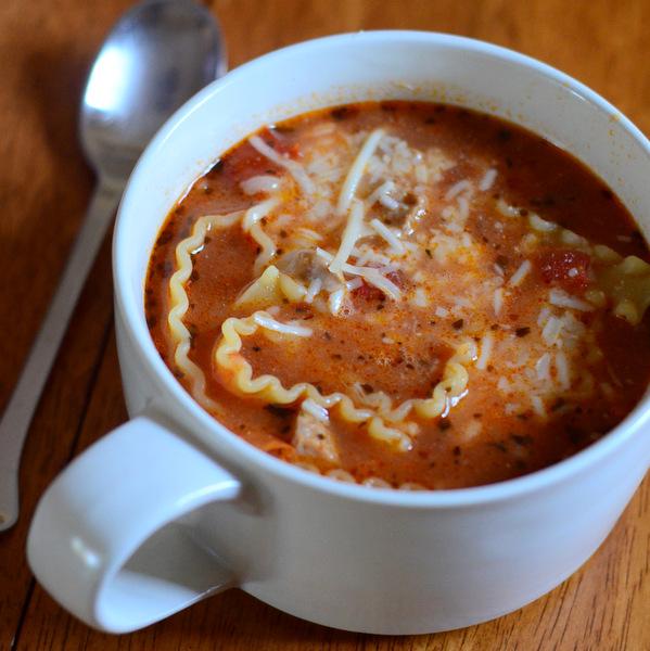 Cup of lasagna soup