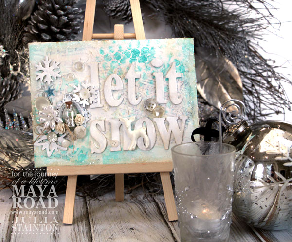 Let it Snow Mixed Media Altered Canvas for the Holidays