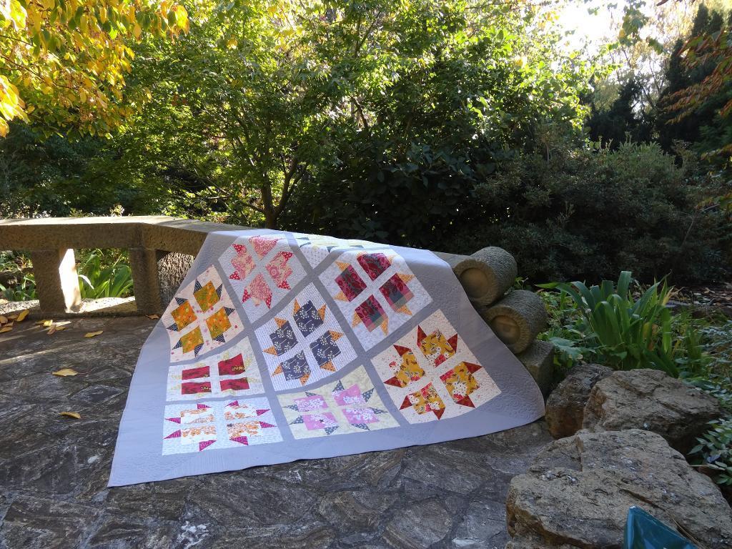 modern block flower quilt