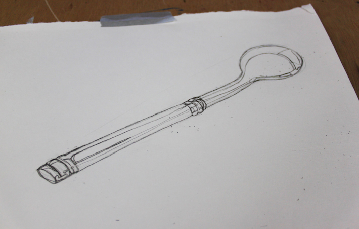 completed sketch of a spoon