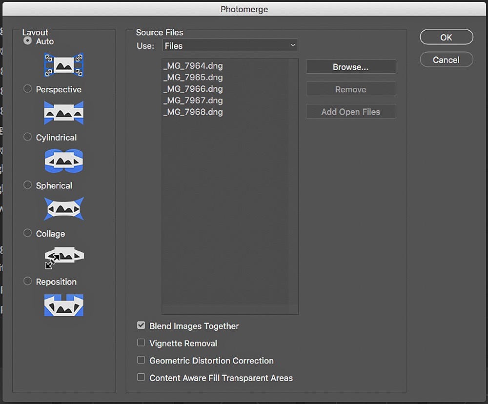 Pano dialog in Photoshop