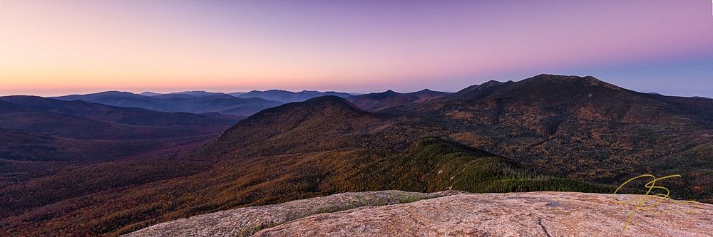 Panoramic photo of the Pemigewasset Wilderness in the White Mountains of New Hampshire.