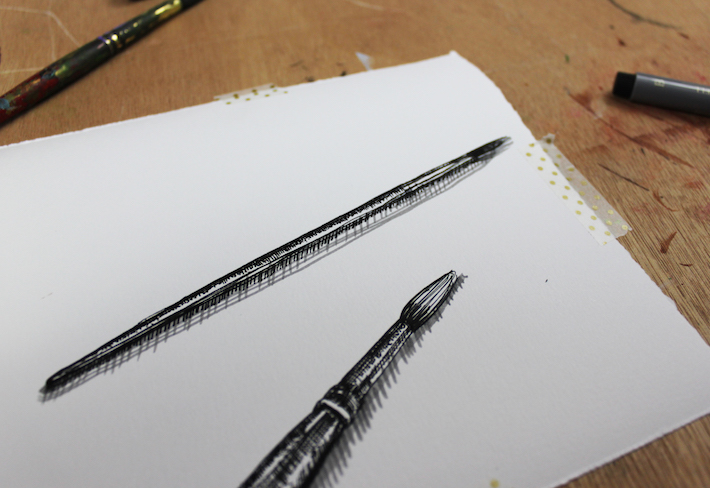 pen drawing using several textures