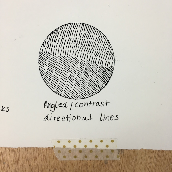 Angled / contrasting diagonal lines