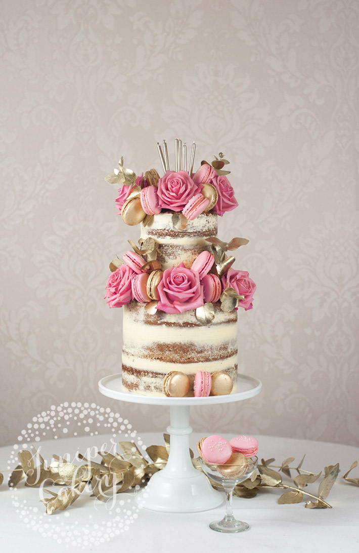 Pink and gold semi-naked cake by Juniper Cakery