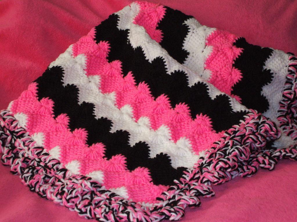 shells and waves tunisian crochet blanket