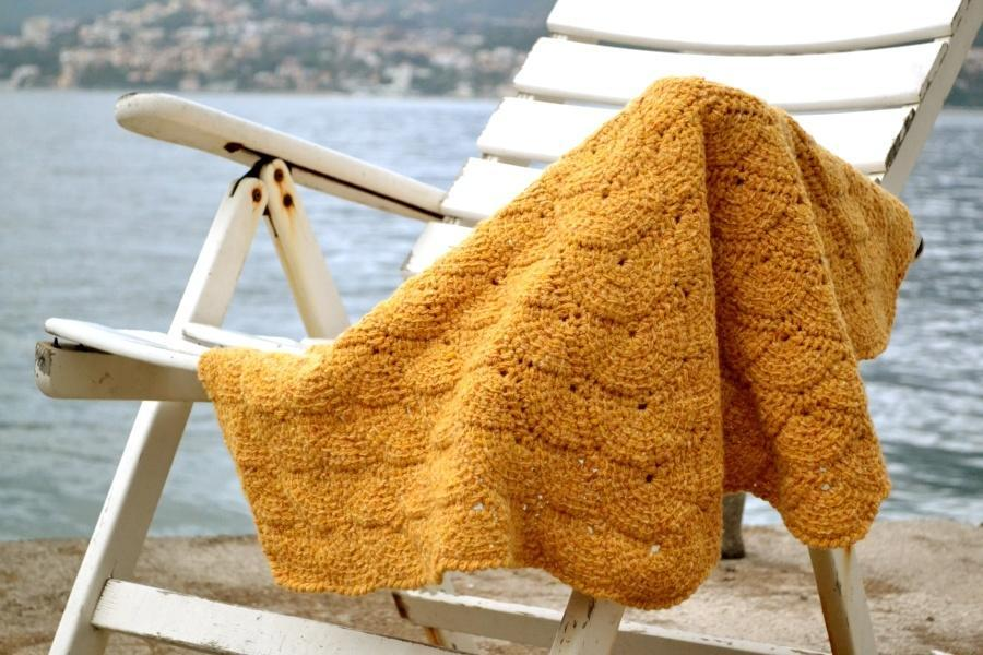 tunisian crochet shells blanket
