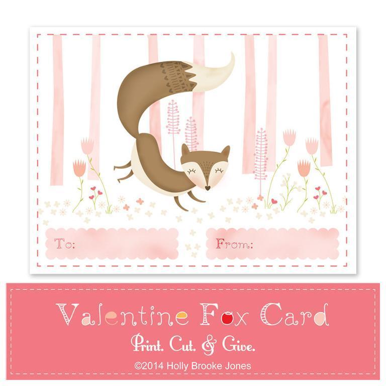 Printable Valentine Fox Card