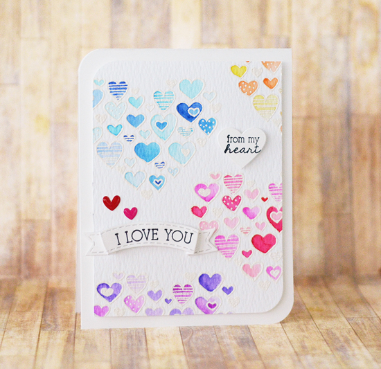 Watercolor Embossed Hearts Valentine Card