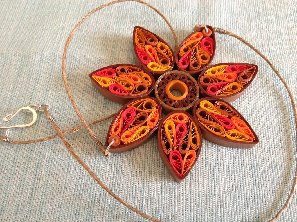 Image of quilled flower necklace
