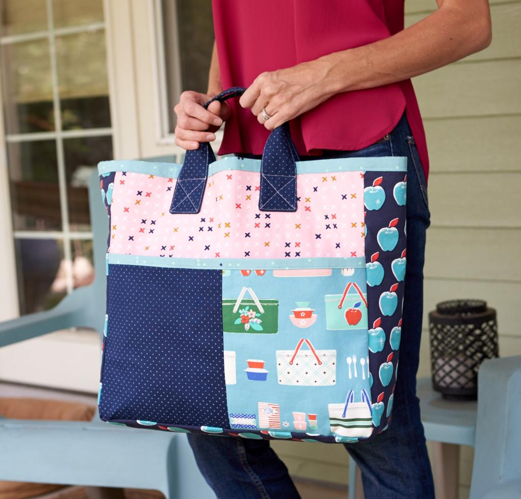 Green Bee Patterns Boxcar Tote in C+S Picnic fabric