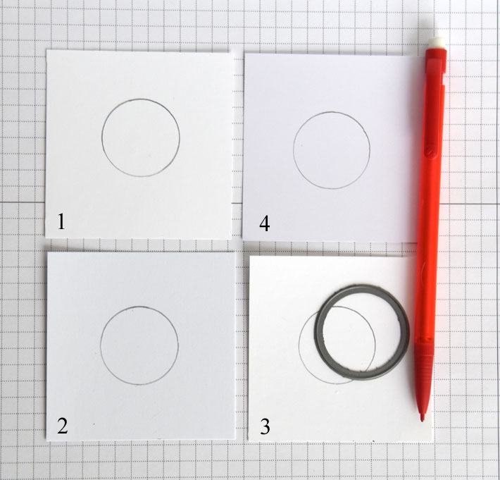 Trace or draw a simple shape onto each sample