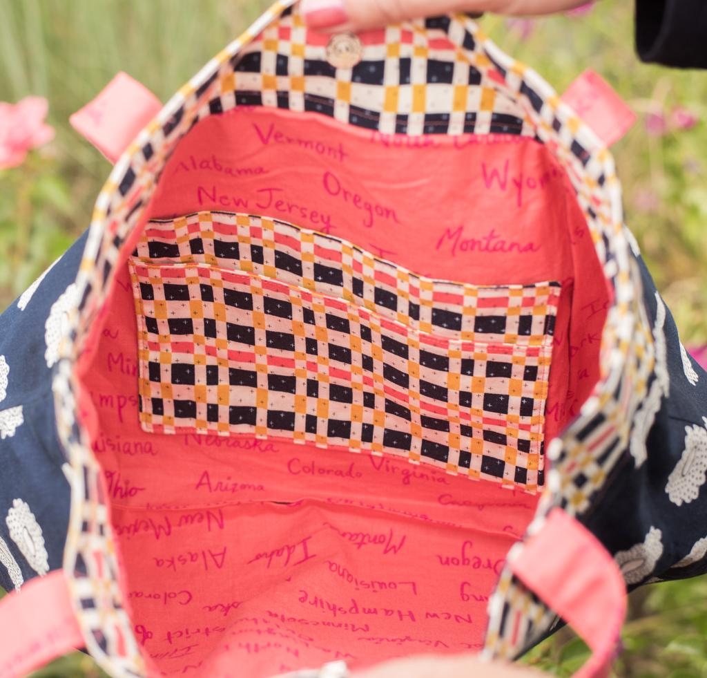 Interior of Green Bee Patterns Vera Bag