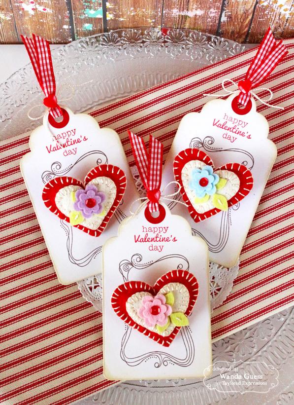 Felt Heart Pin Tags