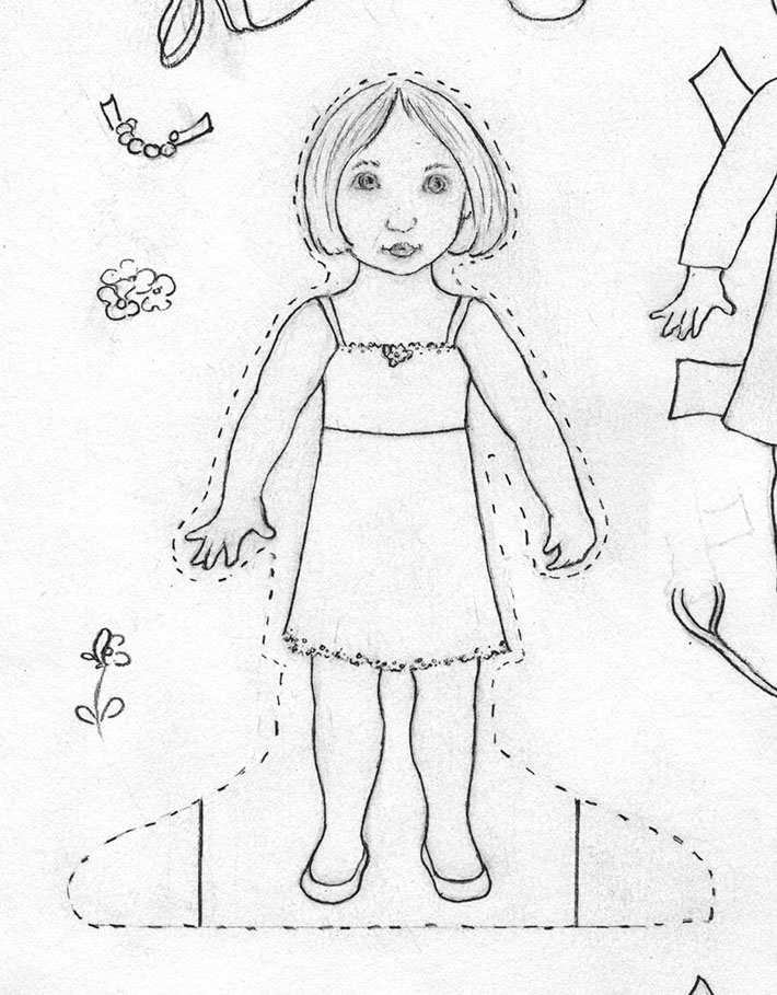how to draw a paper doll