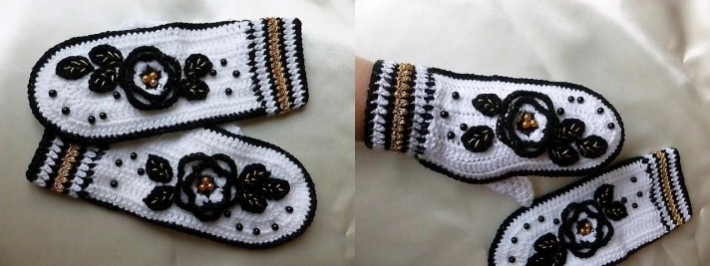 Fantasy crochet mitten pattern