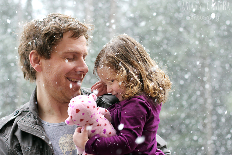 Snowy Family Photo Father Daughter