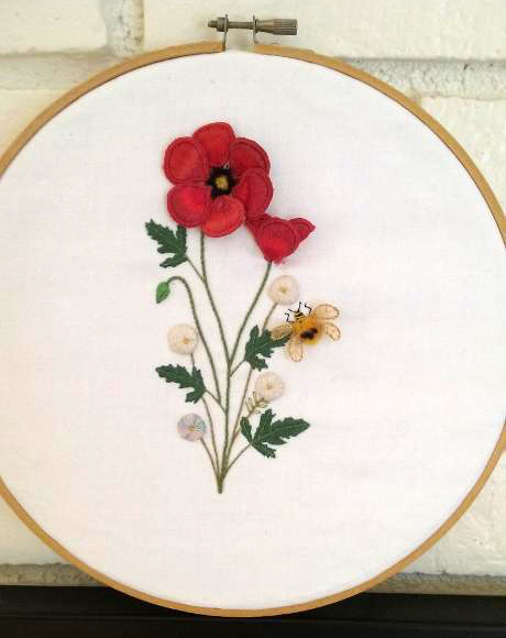 Stumpwork #1 flowers and bee via Bluprint member Rosioquilter