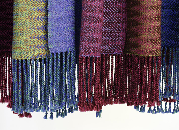 handwoven fringed scarves by Cally Booker