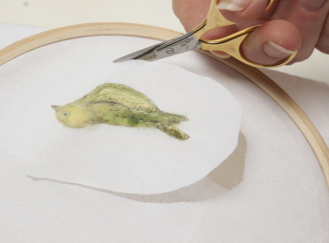 cutting out a stumpwork bird by di van Niekerk
