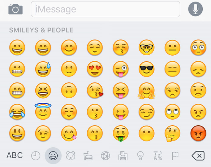 Screen shot of emojis