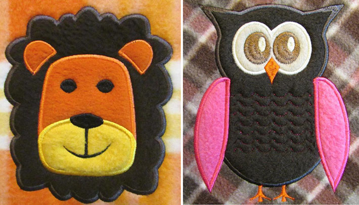 applique animal designs on fleece