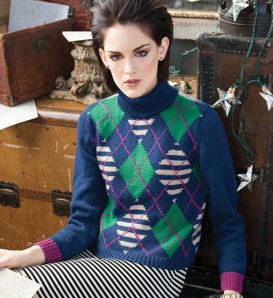 Argyle Turtleneck Knitting Pattern