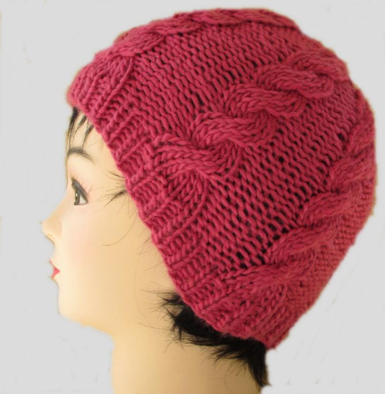 Raspberry Cabled Beanie FREE Knitting Pattern