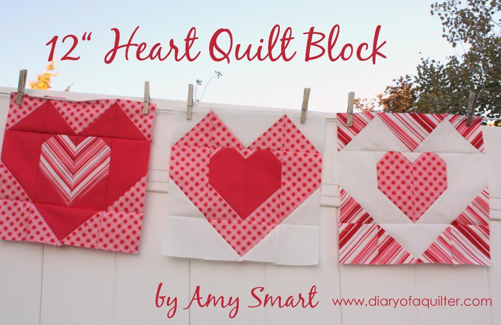 Use this heart quilt block to make throw pillows or a blanket