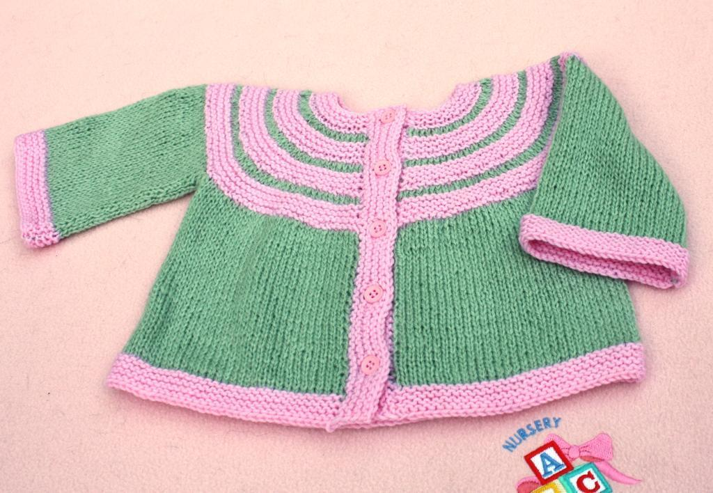 Two Color Baby Jacket Knitting Pattern