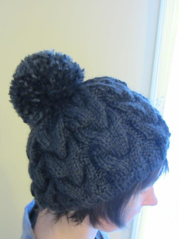 Cable Pom-Pom Hat FREE Knitting Pattern