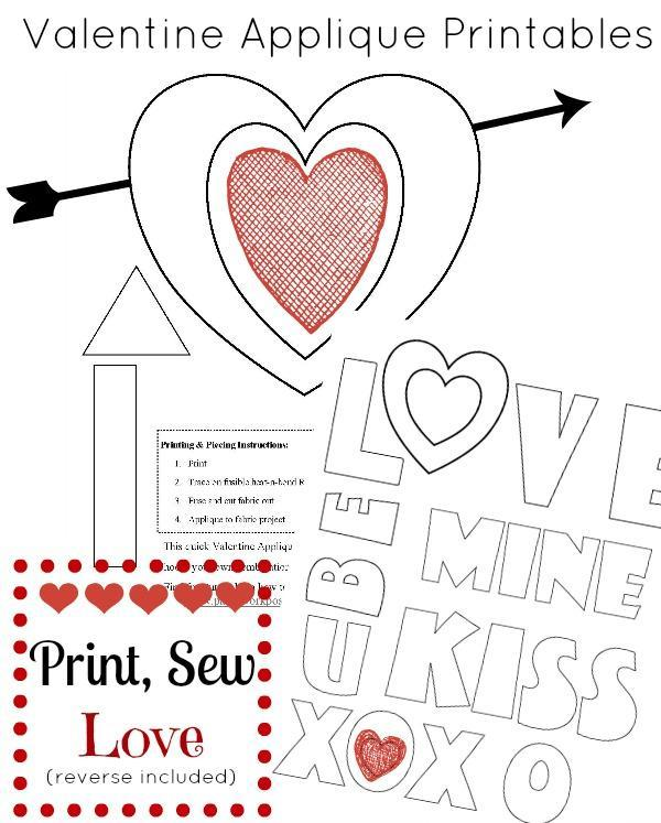 Use these Valentine's Day templates to create sewing projects.