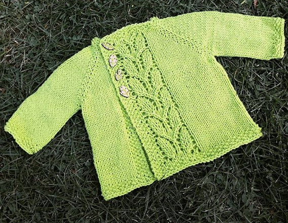Leaf Love Baby Sweater FREE Knitting Pattern