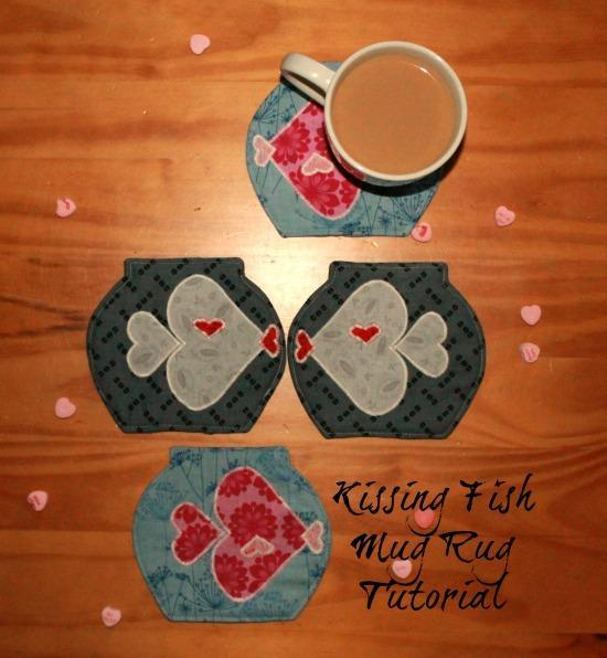 Give a kissing fish mug rug to a friend for Valentine's Day