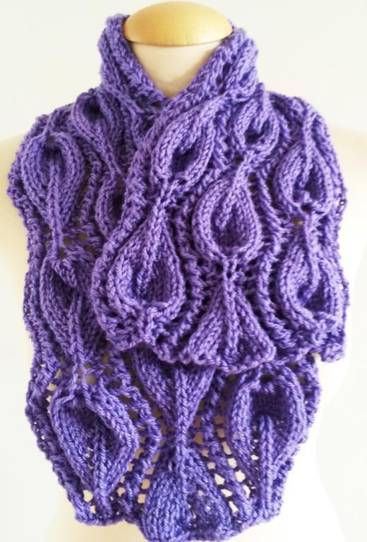 Leaf Lilac Scarf Cowl Knitting Pattern