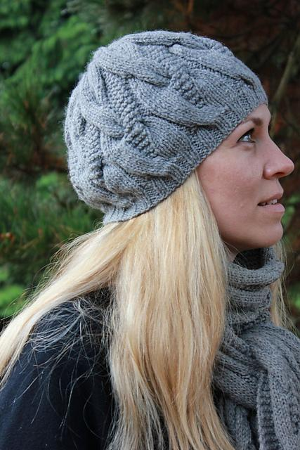 Hat and Scarf with Cables FREE Knitting Pattern