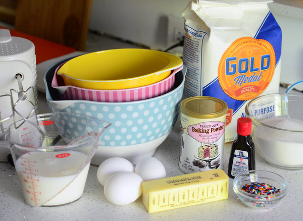 Cake Ingredients for Funfetti Sheet Cake
