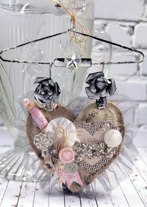 Vintage Hanging Heart Valentine Decor