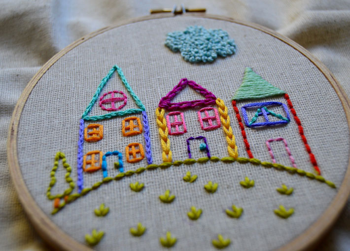 how to embroider houses