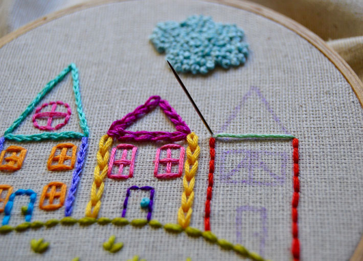 how to satin stitch a roof