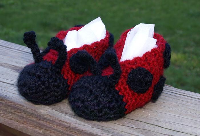 ladybug crochet slippers