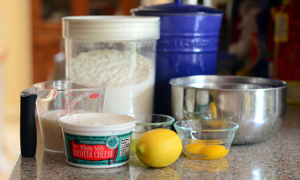Ingredients for Light & Fluffy Lemon Ricotta Pancakes