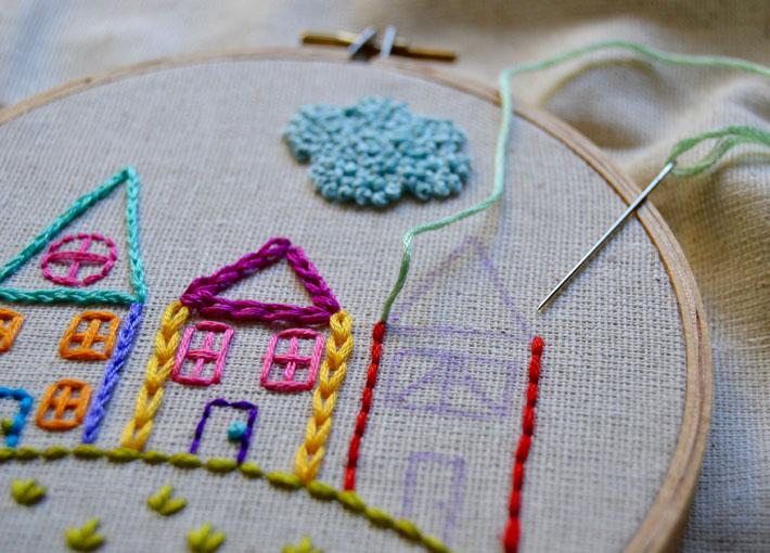 satin stitch house